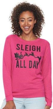 Fifth Sun Junior's Neon Pink Sleigh All Day Glitter Sweatshirt