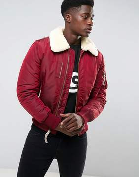 Alpha Industries Bomber Jacket Shearling Collar in Burgundy