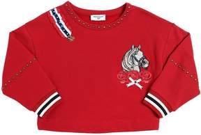 MonnaLisa Cropped Cotton Sweatshirt W/ Studs