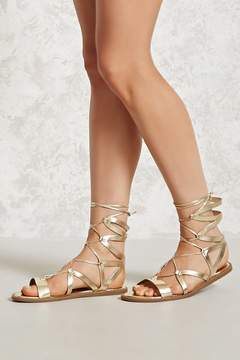 Forever 21 Metallic Ankle-Wrap Sandals