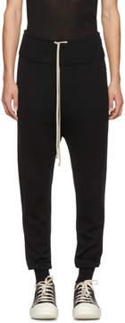 Rick Owens Black Wool Drawstring Long Lounge Pants