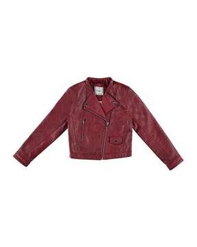 Mayoral Faux-Leather Moto Jacket, Wine, Size 8-16