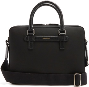 Dolce & Gabbana Leather-trimmed canvas briefcase
