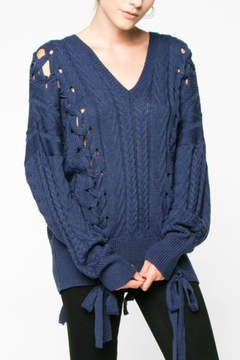 Everly Indigo Lace Up Sweater