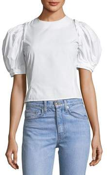 Brock Collection Takako Poplin Lace-Up Top