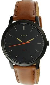 Fossil Men's Minimalist FS5305 Black Leather Japanese Quartz Fashion Watch