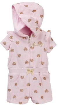 Juicy Couture Pink Glitter Heart Print Hooded Terry Romper (Baby Girls 3-9M)