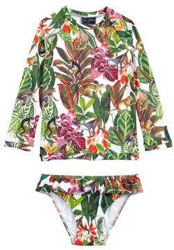 Oscar de la Renta Girl's Jungle Monkeys Two-Piece Rashguard Swimsuit