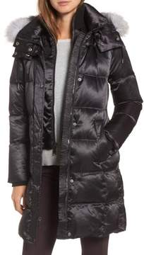 Andrew Marc Women's Hooded Down Jacket With Genuine Fox Fur Trim