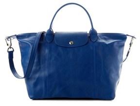 Longchamp Le Pliage Cuir Leather Medium Handbag. - BLUE - STYLE