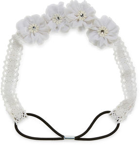 Carole White Lace Flower Headband