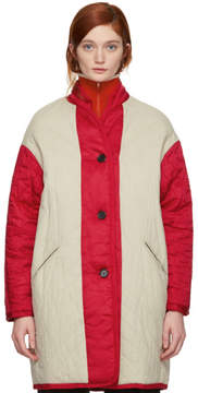 Etoile Isabel Marant Reversible Beige and Red Haley Quilted Jacket