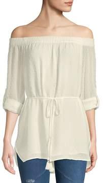 Daniel Rainn Women's Rolled-Sleeve Off-the-Shoulder Blouse