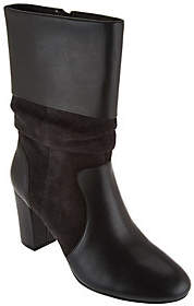 C. Wonder Leather and Suede Mid-Calf Slouch Boots - Amanda