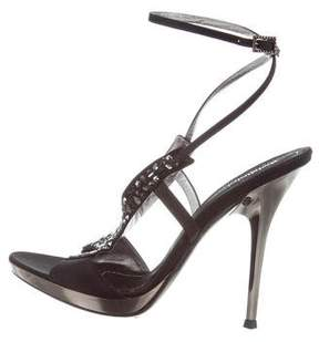 Baldinini Jewel-Embellished Satin Sandals