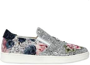 MonnaLisa Rose Glitter Leather Slip-On Sneakers