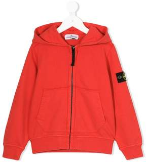 Stone Island Junior logo patch zip hoodie
