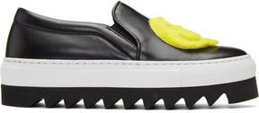 Joshua Sanders Black Smile Platform Slip-On Sneakers