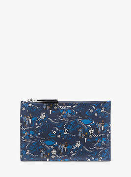 Michael Kors Bancroft Tropical Welcome Print Leather Pouch - BLUE - STYLE