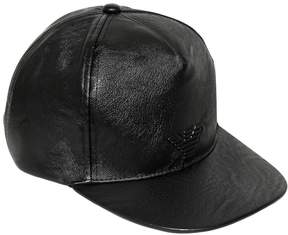 Armani Junior Logo Faux Leather Baseball Hat