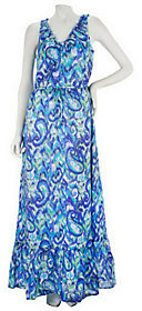 Isaac Mizrahi Live! Paisley Print Maxi Dress with Ruffle Neckline