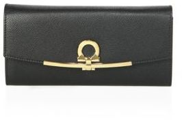 Salvatore Ferragamo Gancino Clip Icona Continental Leather Wallet