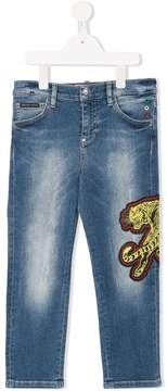 Philipp Plein Junior patch embellished jeans