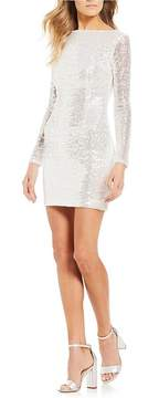 B. Darlin Long Sleeve Sequin Sheath Dress
