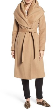 Donna Karan Women's Dkny Wool Blend Shawl Collar Wrap Coat