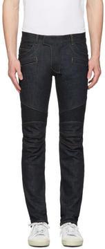 Balmain Indigo Biker Rib Jeans