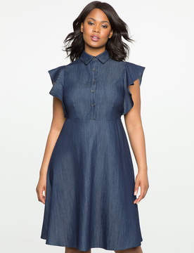 ELOQUII Flutter Sleeve Fit and Flare Denim Dress