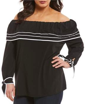 Peter Nygard Plus Off-The-Shoulder Ruffle Top