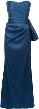 Badgley Mischka draped strapless gown