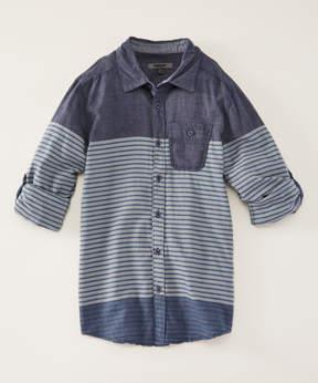 DKNY Dress Blues Tri-Stripe Long-Sleeve Button-Up - Boys