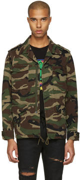 Saint Laurent Green Camo Love Military Jacket