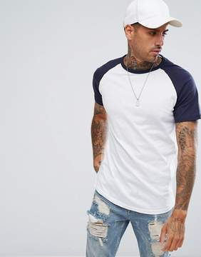 Pull&Bear Raglan T-Shirt In Navy