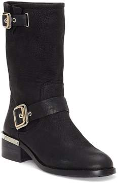 Vince Camuto Windy Leather Buckled Strap Stacked Heel Mid Boots