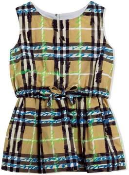 Burberry Scribble check print cotton drawcord dress