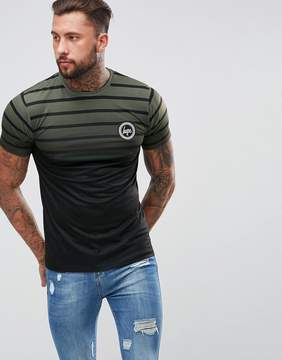 Hype Muscle T-Shirt In Khaki Stripes With Fade