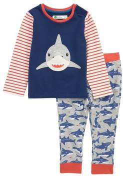 Boden Mini Fun Shark Applique Jersey Shirt & Pants Set
