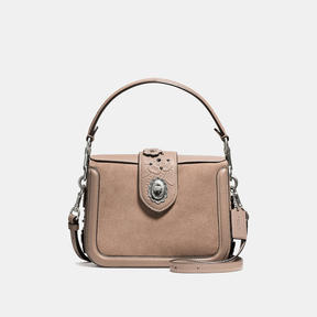 COACH PAGE CROSSBODY IN GLOVETANNED LEATHER WITH PAINTED TEA ROSE TOOLING - LIGHT ANTIQUE NICKEL/STONE MULTI