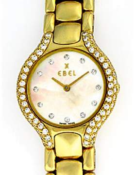 Ebel Beluga 18K Yellow Gold Diamond Womens Watch