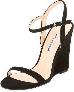 Charles David Queen Ankle-Wrap Wedge Sandal, Black