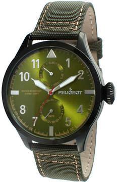 Peugeot Mens Green Strap Aviator Watch 2044BGR