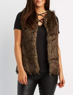 Charlotte Russe Leather-Trim Faux Fur Vest