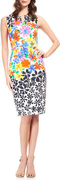 David Meister Floral Split-Neck Sheath Dress