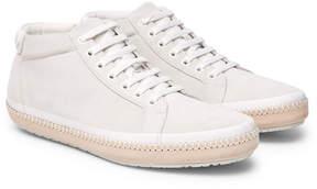 Bottega Veneta Spritz Intrecciato Leather-Trimmed Suede Sneakers