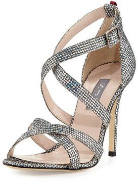 Sarah Jessica Parker Strut Strappy Sparkle Sandal, Silver