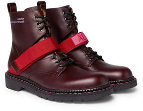Valentino Coordinates Grosgrain-Trimmed Leather Combat Boots