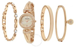 Anne Klein Mother Of Pearl Dial Rose Gold Bangle Ladies Watch Set
